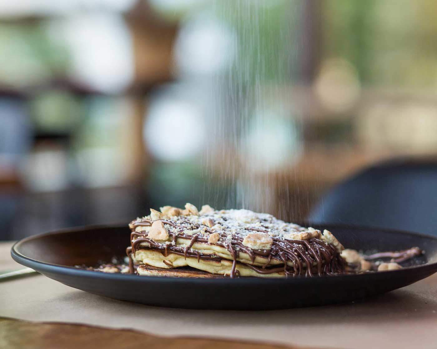 Brunch pancakes with chocolate