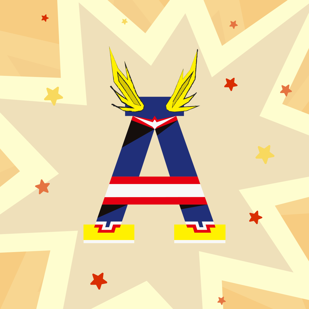 36 days of type challenge letter A for All Might from My Hero Academia