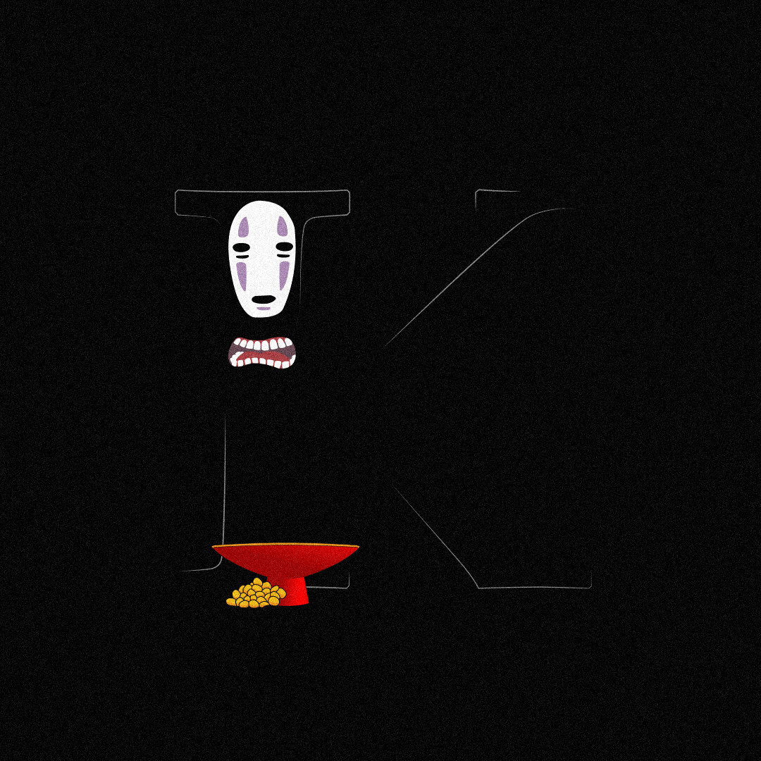 36 days of type challenge letter K for Kaonashi from Spirited Away