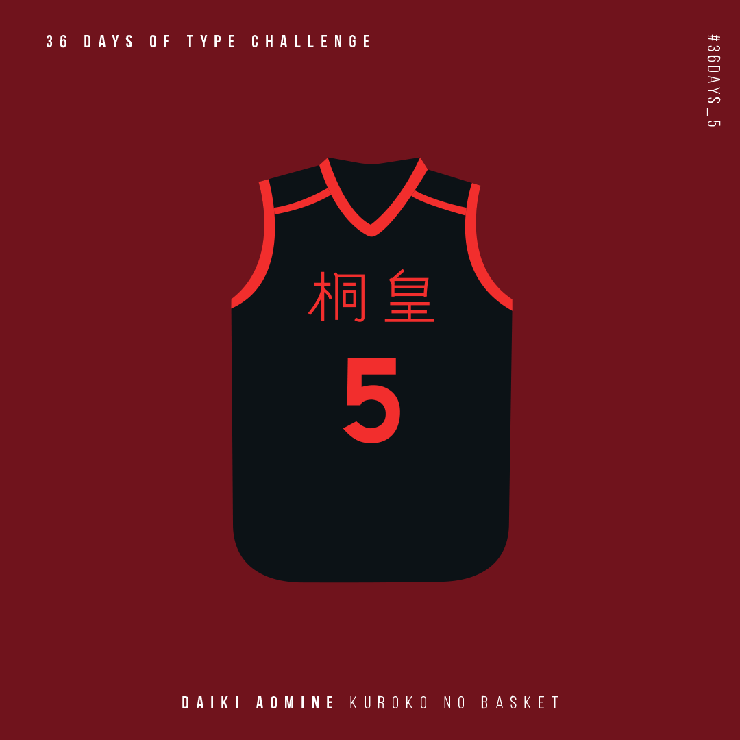 36 days of type challenge number 5 for Daiki Aomine from Kuroko no Basket