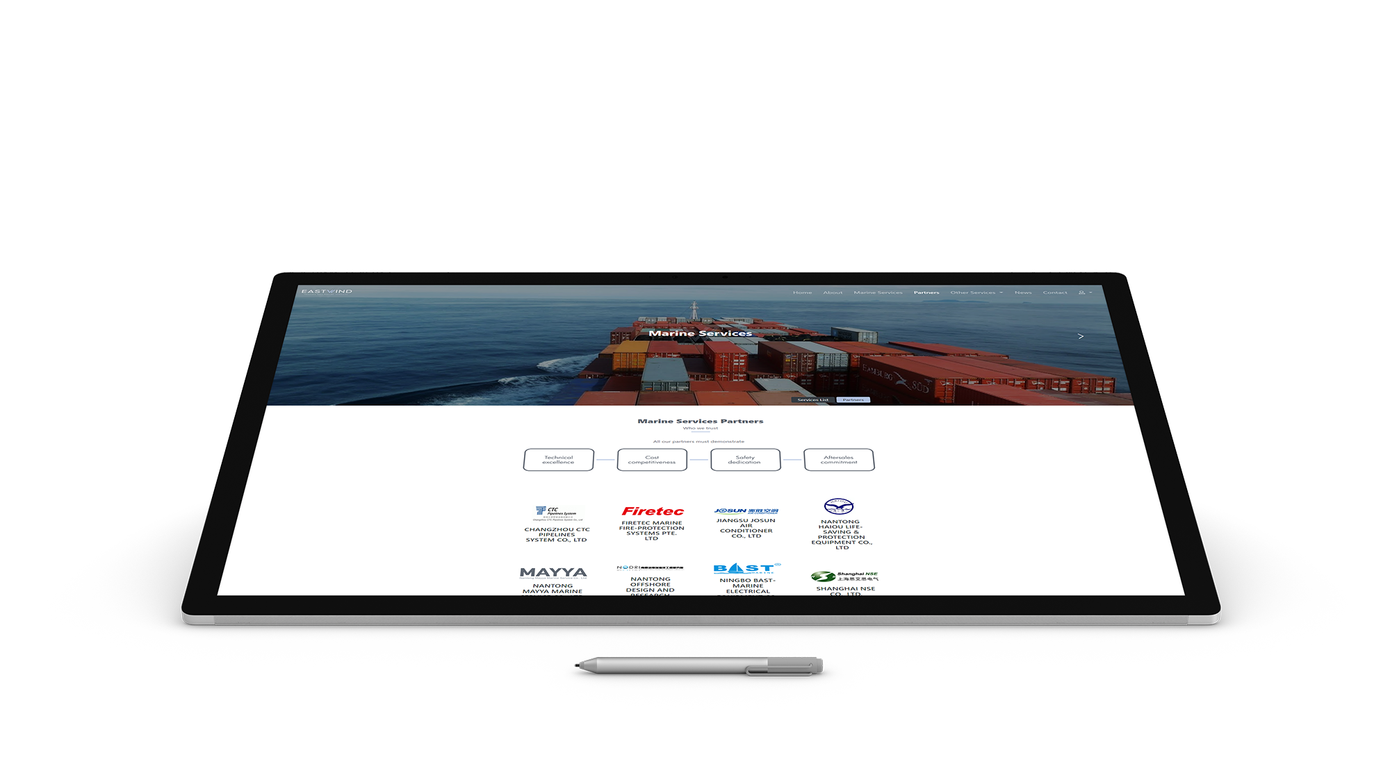 Eastwind Marine services website design